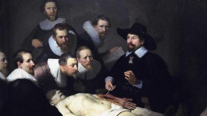 Détail de la ''Leçon d'anatomie du docteur Tulp'', de Rembrandt (1632)