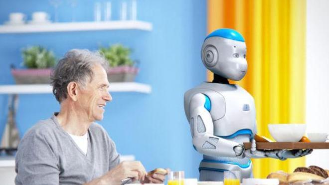 Image promotionnelle destinée à vanter les qualités du robot Romeo®. (Crédits : Aldebaran Robotics)