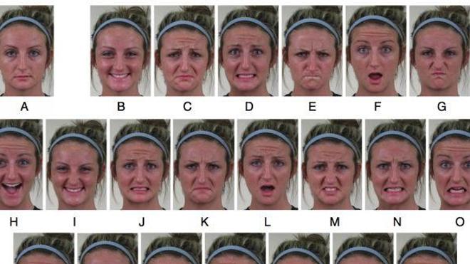 Le premier cliché (A) présente un visage neutre, les six suivants un visage joyeux (B), triste (C), effrayé (D), en colère (E), étonné (F), dégoûté (G). Les 15 autres expriment une combinaison de ces 6 émotions. Saurez-vous reconnaître ces expressions ?