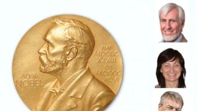 Les trois lauréats du Prix Nobel de Médecine 2014. De haut en bas : John O'Keefe, May‐Britt Moser et Edvard Moser.