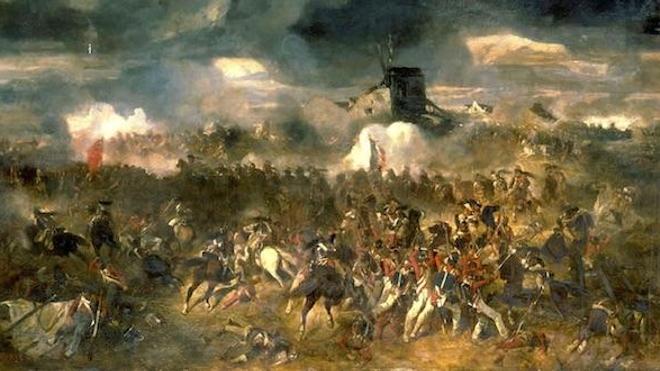 Détail de ''La Bataille de Waterloo. 18 juin 1815'', par Clément-Auguste Andrieux, 1852.