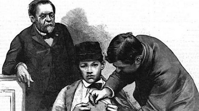 Gravure de 1885 représentant la seconde vaccination, celle de Jean-Batiste Jupille, Pasteur est à gauche