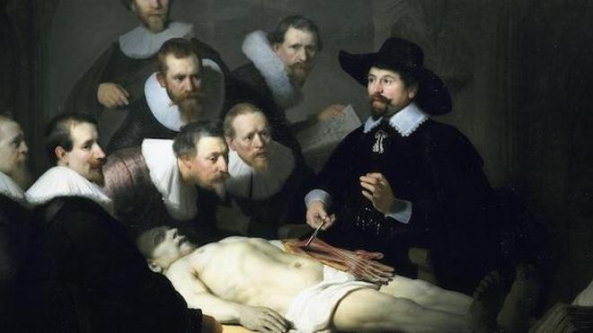 La leçon d'anatomie (détail), de Rembrandt (1632)