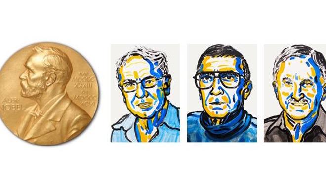 L'Académie Nobel décerne un prix à trois artisans de la compréhension de ces mécanismes cellulaires. A gauche de la médaille Nobel : Tomas Lindahl, Aziz Sancar et Paul Modrich (crédits : Ill. N. Elmehed. © Nobel Media AB 2015)