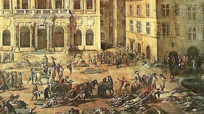 Détail d'un tableau de Michel Serre (1658-1733) représentant l'hôtel de ville de Marseille pendant la peste de 1720.