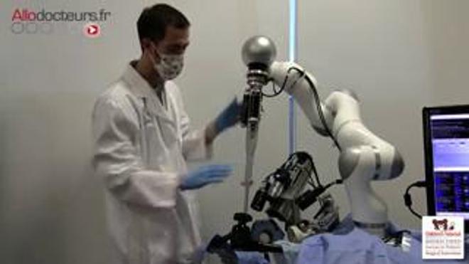 Un cochon opéré par un robot