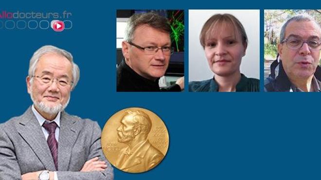 Au-dessus de la photographie de Yoshinori Ohsumi, les portraits de  (de gauche à droite) : Frank Lafont, Isabelle Vergne et Marc Bourouis, chercheurs spécialistes de l'autophagie.