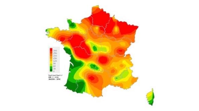 Taux d'incidence départementaux de diarrhée aiguë (pour 100.000 habitants) durant la 48ème semaine de l'année (source : Sentinelles)