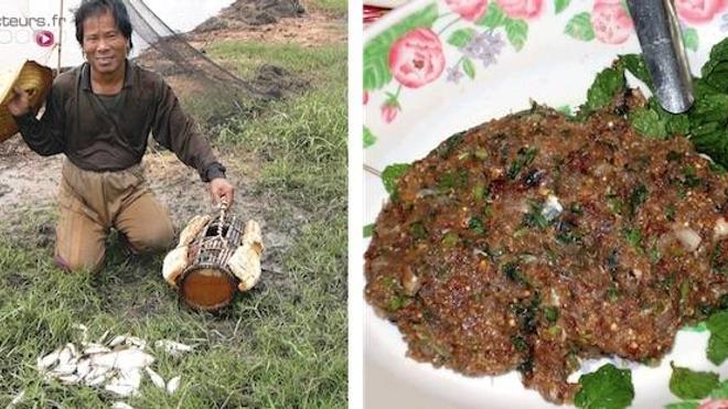 Poisson pêché pour la préparation du Koi Pla (à gauche) et la préparation traditionnelle (à droite). Source : B. Sripa et al. doi:10.1371/journal.pmed.0040201.