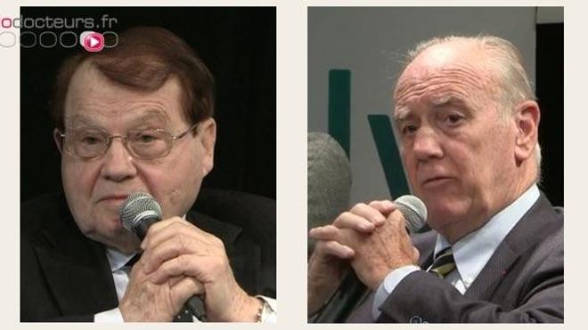 Les professeurs Montagnier (à gauche) et Joyeux (à droite), lors de la conférence de presse du 7 novembre 2017. (crédits : Allodocteurs.fr)