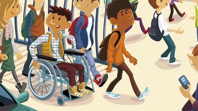 """Détail d'une affiche de la campagne """"L'école, c'est pour tous les enfants !"""" (DR)"""
