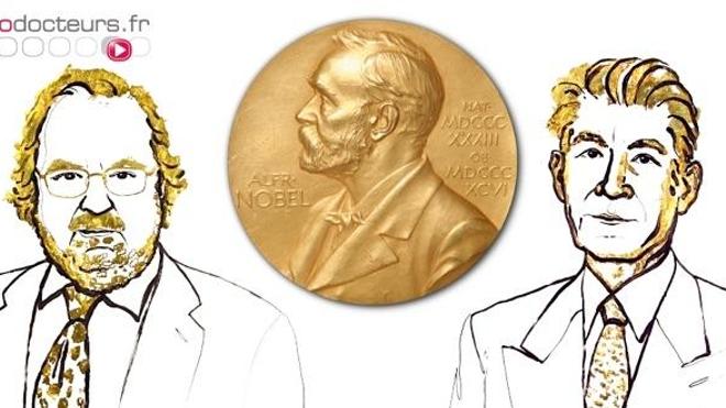 Portraits de James Allison (à gauche) et Tasuku Honjo (à droite), encadrant la médaille Nobel. (crédit images : © Nobel Media)