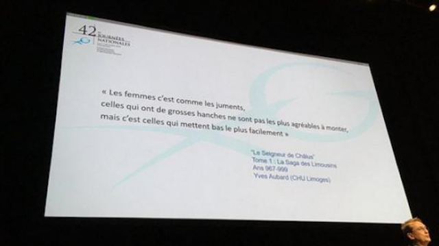 Tollé après une diapositive sexiste au congrès du collège des gynécologues