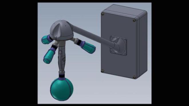 Schéma de principe du capteur méduse (version 2019), avec ses quatre microphones positionnés selon un tétraèdre régulier et ses capteurs optiques au centre.