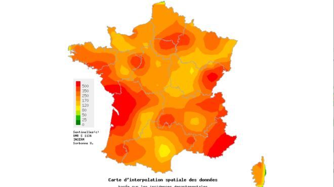 La carte du réseau Sentinelles montre une hausse importante du nombre de cas de grippe saisonnière.