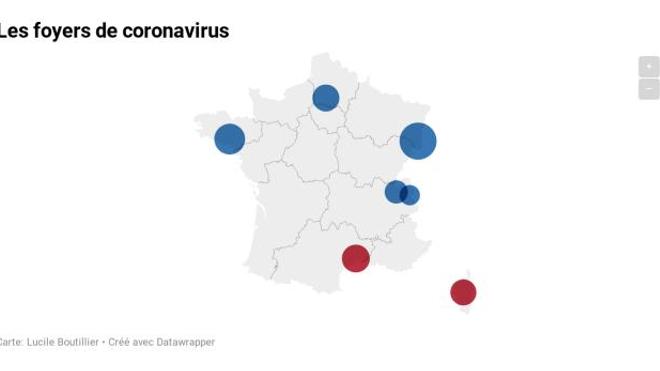 CARTE - Coronavirus : deux nouveaux foyers de contamination en France