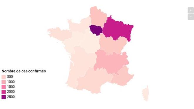 Deux régions françaises ont franchi le cap des 2 000 cas.