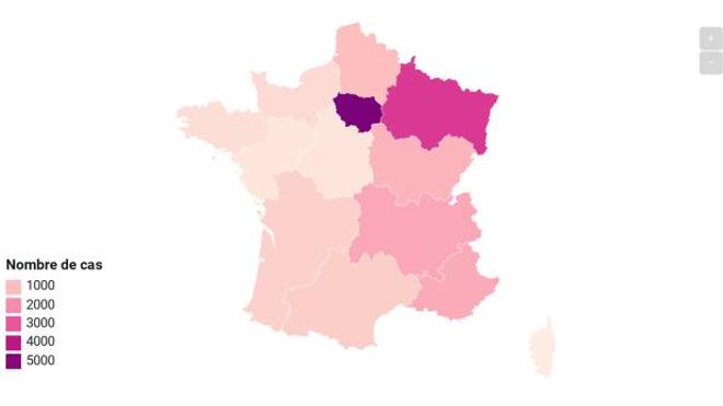 L'Ile-de-France comporte désormais près d'un tiers des cas en France métropolitaine.