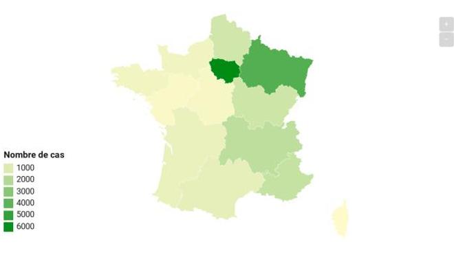 Près d'un quart des nouveaux cas se trouvent en Ile-de-France.