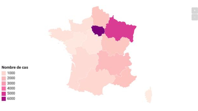 Près de 7000 cas ont été enregistrés en Ile-de-France.