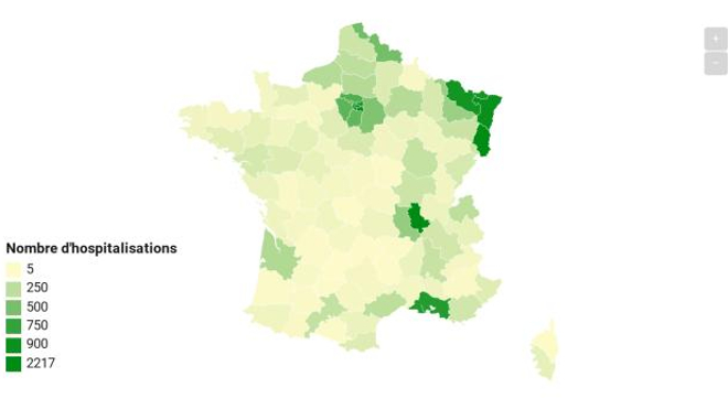 CARTE - Près de 45 000 cas de coronavirus en France