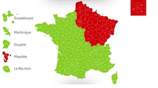 Carte des départements rouges et verts au 7 mai 2020.