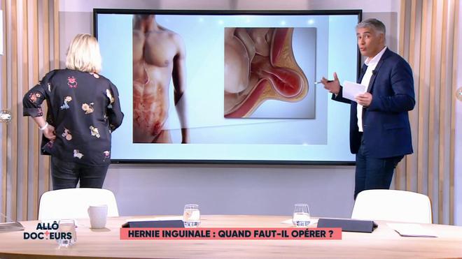 Marina Carrère d'Encausse et Régis Boxelé expliquent l'hernie inguinale.