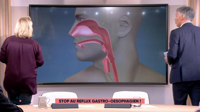 Marina Carrère d'Encausse et Régis Boxelé expliquent le reflux gastro-oesophagien (RGO).