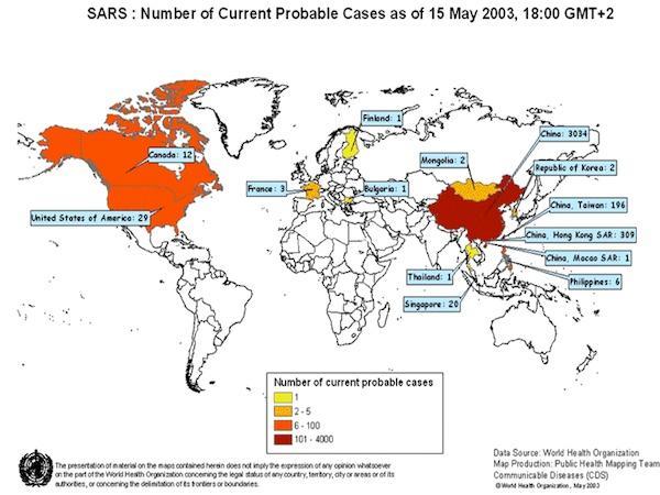 L'épidémie de SRAS en 2003 (Source : OMS)