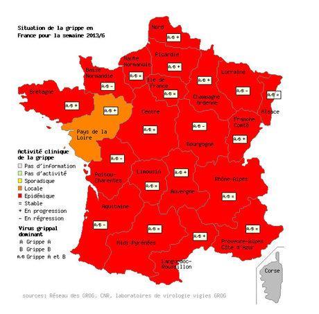 Situation de la grippe en France pour la semaine du 4 au 10 février 2013.