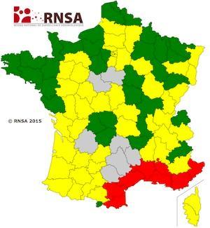 Carte de vigilance des pollens - Du 13 au 20 mars 2015 (Source : RNSA)