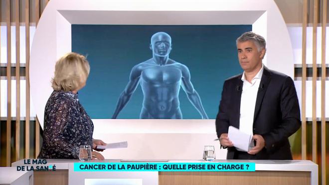 Marina Carrère d'Encausse et Régis Boxelé expliquent le fonctionnement de la paupière