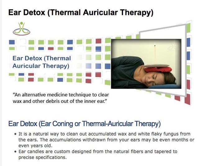 """Site utilisant le concept de """"détox"""" pour vendre des bougies auriculaires."""