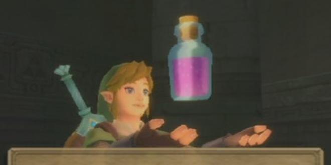 ''Cette potion restaure la jauge de votre bouclier et votre vitalité !'' Laissons ce type d'allégations à l'univers du jeu vidéo ! (image du jeu The Legend of Zelda : Skyward Sword, Nintendo)