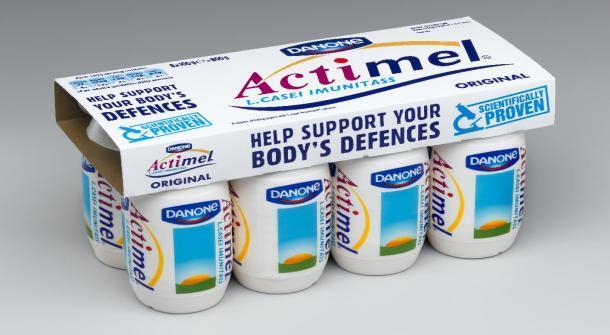 Ancien emballage nord-américain d'Actimel® (Danone), produit lancé il y a 20 ans à grands renforts d'allégations santé en lien avec l'immunité. Une action judiciaire à été entreprise aux Etats-Unis en 2008 contre son fabricant pour publicité mensongère.