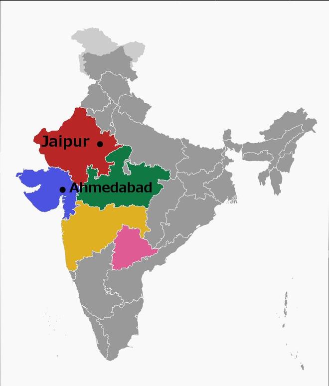 Les principaux états touchés par l'épidémie de grippe H1N1 depuis début décembre : le Rajasthan (en rouge), le Gujarat (en bleu), le Madhya Pradesh (en vert), le Maharashtra (en jaune) et le Telangana (en rose). (Infographie Allodocteurs.fr, via Commons)