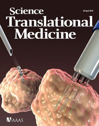 La Une du Science Translational Medicine du 22 avril 2015. A gauche, le dispositif du MIT, à droite le CIVO™ de la société Presage Bioscience (crédits : C. Bickel / Science Translational Medicine)