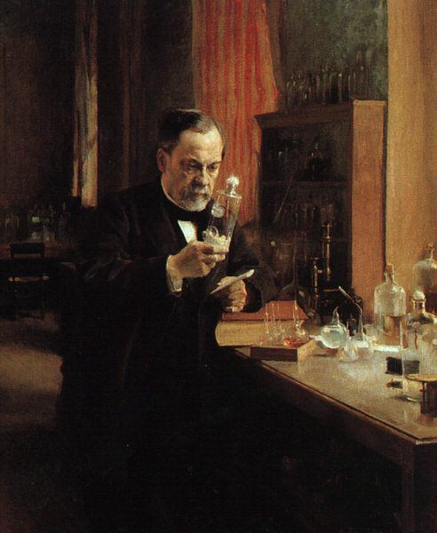 Louis Pasteur dans son laboratoire, tenant dans sa main un bocal contenant des moelles de lapins enragés