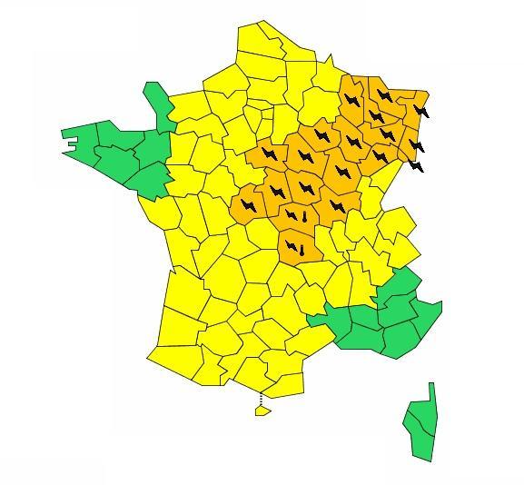 ©Météo France - Carte de vigilance du 20 juillet 2016