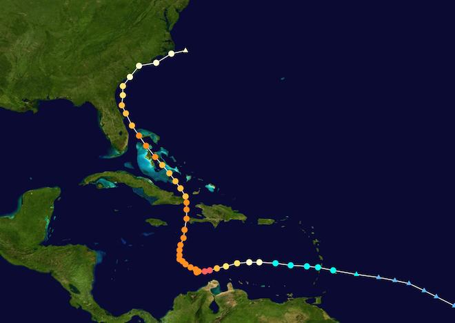 Trajet de l'ouragan Mathews, début octobre 2016. (crédits : Cyclonebiskit)