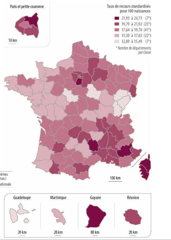 Carte des fréquences des césariennes programmées en France (IRDES)