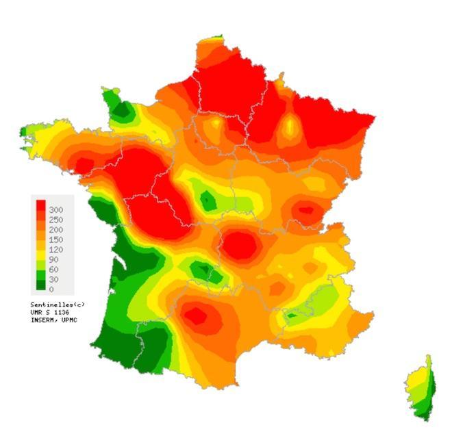 Taux d'incidence départementaux de diarrhée aiguë (pour 100 000 habitants) durant la 48ème semaine de l'année (source : Sentinelles)