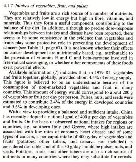 Extrait du rapport de l'OMS de 1990 établissement l'objectif de 400 grammes (5x80) de fruits et légumes quotidiens.