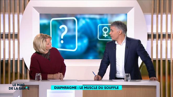 Marine Carrère d'Encausse et Régis Boxelé rappellent l'anatomie de la respiration.