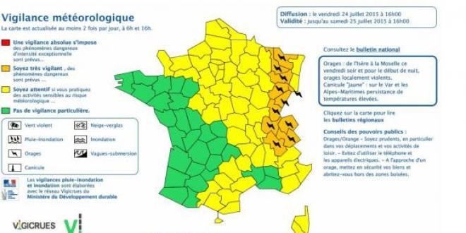Carte de Météo France, le 24 juillet 2015
