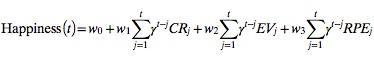 Capture d'écran de l'équation du bonheur. PNAS. Robb B. Rutledge et al