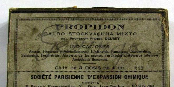 Une boîte espagnole de Propidon, vaccin combiné formulé par Pierre Delbet