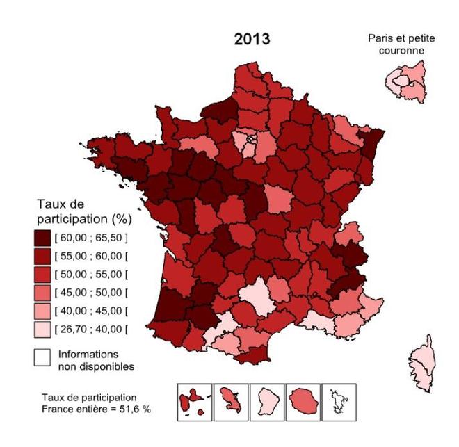 Taux de participation au dépistage organisé, par départements, en 2013 (crédits : INCa)